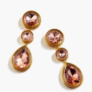 New JCREW Pear Shaped Triple Stone Drop Earrings
